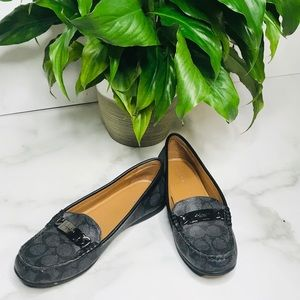 COACH OLIVE LOAFERS LOGO GRAY BLACK LOAFERS